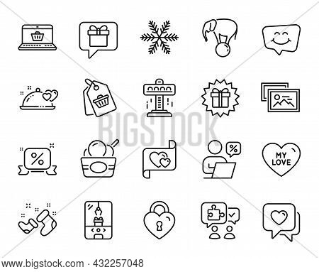 Vector Set Of Snowflake, Sale Tag And Attraction Line Icons Set. Santa Boots, Ice Cream And Smile Ch