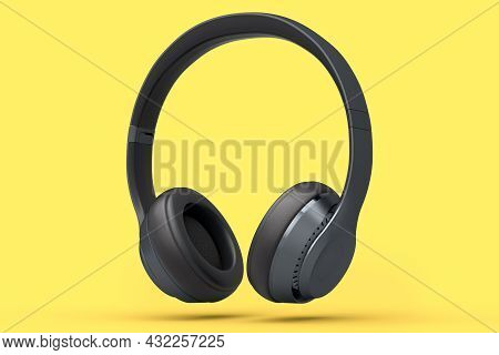 Professional Gaming Headphones Isolated On Yellow Background. 3d Rendering Of Over-ear Headphones An