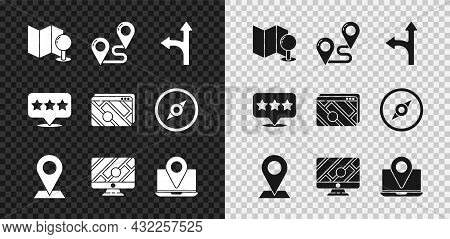 Set Folded Map With Push Pin, Route Location, Road Traffic Sign, Location, Monitor Marker, Laptop, M