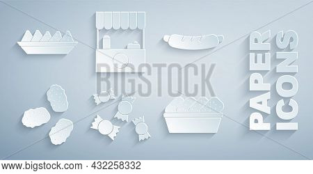 Set Candy, Hotdog Sandwich, Chicken Nuggets, In Box, Street Stall With Awning And Nachos Plate Icon.