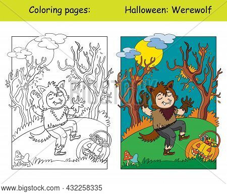 Funny Boy In Werewolf Costume In Scary Forest. Halloween Concept. Coloring Book Page For Children Wi