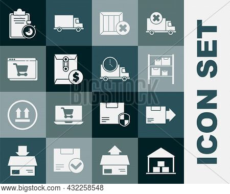 Set Warehouse, Carton Cardboard Box, Wooden And Delete, Envelope With Dollar Symbol, Online Shopping