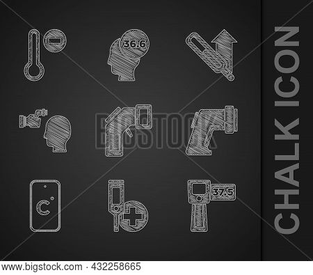 Set Digital Thermometer, Celsius, Checking Body Temperature, Medical And Meteorology Icon. Vector