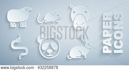 Set Cute Panda Face, Hippo Or Hippopotamus, Snake, Rabbit, Rat And Sheep Icon. Vector