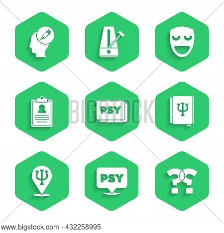 Set Psychology, Psi, Question Mark, Book, , Medical Clipboard, Comedy Theatrical Mask And Addiction