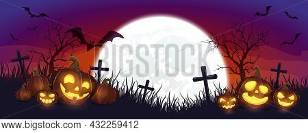 Halloween Pumpkins On Cemetery. Purple Night Background. Banner With Jack O' Lanterns And Bats. Illu
