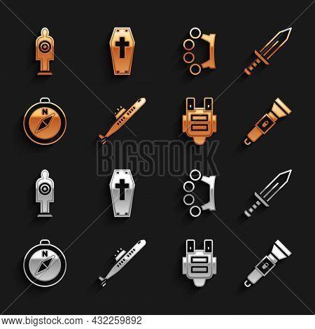 Set Submarine, Sword, Flashlight, Bulletproof Vest, Compass, Brass Knuckles, Human Target Sport For