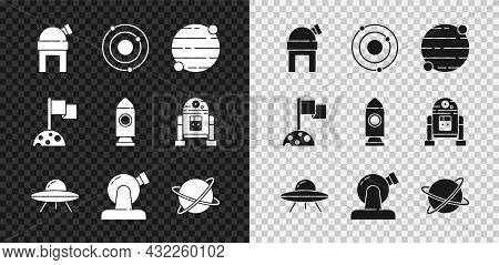 Set Astronomical Observatory, Solar System, Planet, Ufo Flying Spaceship, Satellites Orbiting The Pl