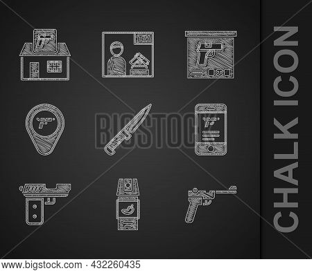 Set Military Knife, Pepper Spray, Mauser Gun, Shop Weapon In Mobile App, Pistol Or, Location With, A