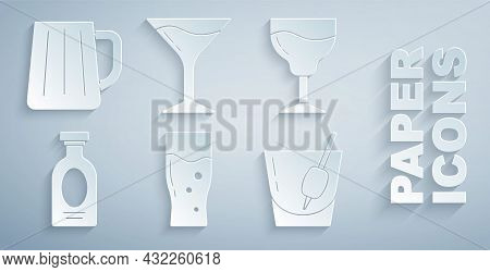 Set Glass Of Beer, Wine Glass, Alcohol Drink Rum, Cocktail Bloody Mary, Martini And Wooden Mug Icon.