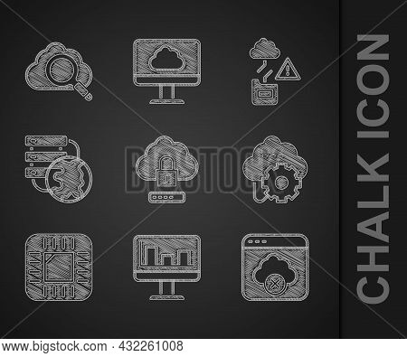 Set Cloud Computing Lock, Monitor With Graph Chart, Failed Access Cloud Storage, Technology Data Tra