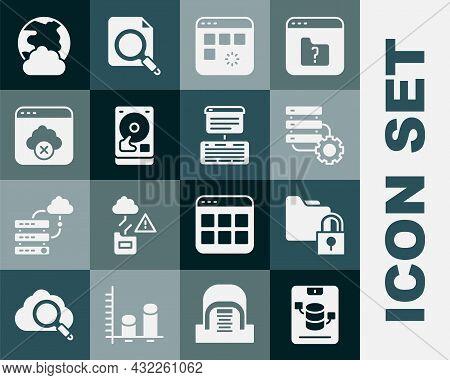 Set Server, Data, Web Hosting, Folder And Lock, Gear, Loading Data Window, Hard Disk Drive Hdd, Fail