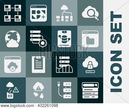 Set Search Engine, Cloud Computing Lock, Browser Files, Computer Network, Server And Gear, Social, H