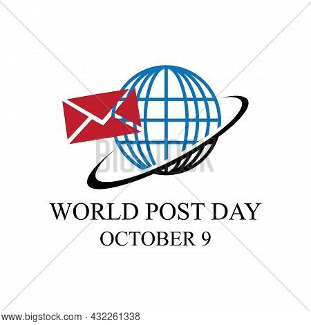 World Post Day Logo With Post Box (mail Box) Icon Design And World Map Background
