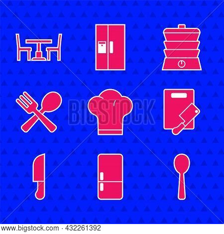 Set Chef Hat, Refrigerator, Spoon, Cutting Board And Meat Chopper, Knife, Crossed Fork Spoon, Slow C