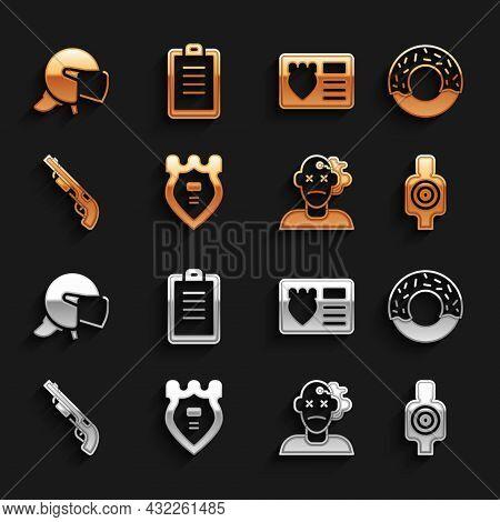 Set Police Badge, Donut, Human Target Sport For Shooting, Murder, Shotgun, With Id Case, Helmet And