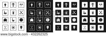 Set Golf Flag, Bag With Clubs, Ball, Tee, Crossed Golf, Award Cup, And Baseball Cap Icon. Vector