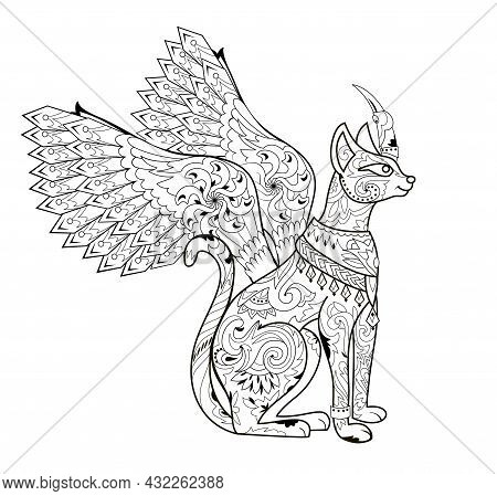 Illustration Of Magic Fairyland Animal From Ancient Legend. Black And White Page For Kids Coloring B