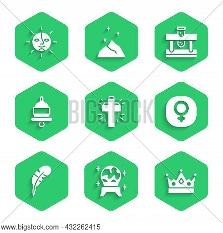 Set Christian Cross, Magic Ball, King Crown, Venus, Feather Pen, Ringing Alarm Bell, Bottle With Pot