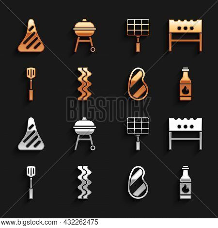 Set Bacon Stripe, Bbq Brazier, Tabasco Sauce, Steak Meat, Barbecue Spatula, Steel Grid, And Grill Ic