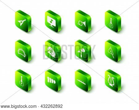 Set Music Note, Tone, Trumpet, Guitar, Triangle, Ancient Lyre, Microphone, Drum And Drum Sticks And