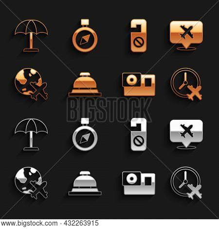Set Hotel Service Bell, Speech Bubble With Airplane, Clock, Action Camera, Globe Flying, Please Do N