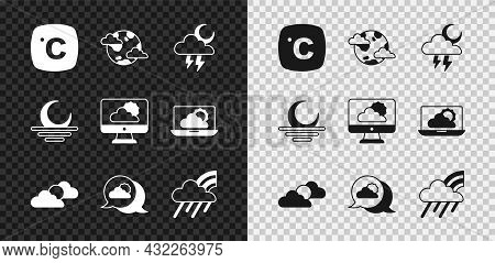 Set Celsius, Earth Planet With Clouds, Storm, Sun And Weather, Location, Rainbow Rain, Sunset And We