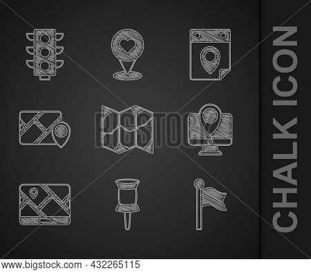 Set Folded Map, Push Pin, Location Marker, Monitor With Location, City Navigation, Infographic Of Ci