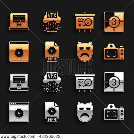 Set Mp4 File Document, Old Film Movie Countdown Frame, Photo Camera, Drama Theatrical Mask, Online P