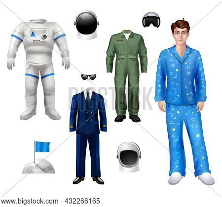 Astronaut Boy Character Pack Set With Suit Costume Helmet Isolated Vector Illustration