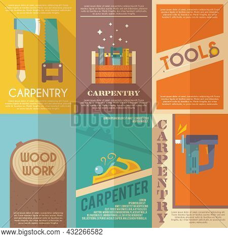 Carpentry Mini Poster Flat Set With Wood Work Toolbox Isolated Vector Illustration