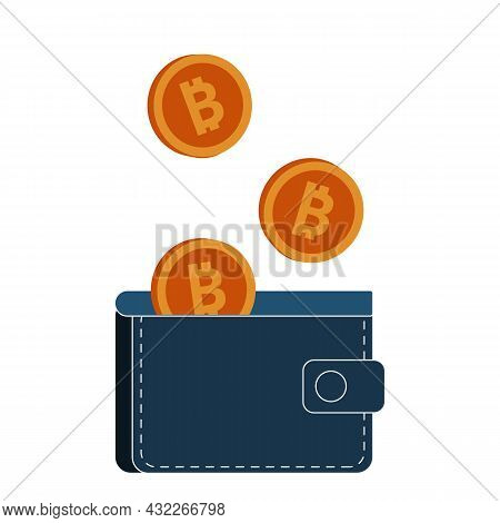 Crypto Wallet, Cryptocurrency Coins Concept. Thin Line Kawaii Vector Illustration On White Backgroun