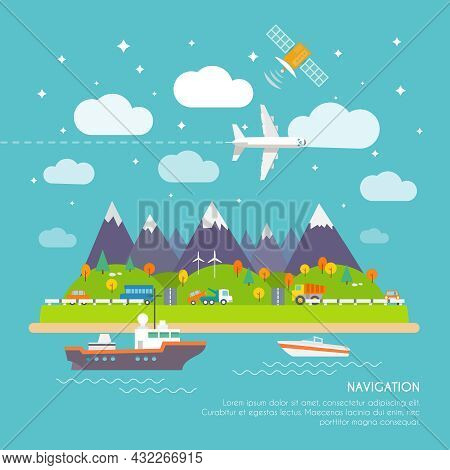 Navigation Real Time Position And Direction Finder Electronic System Poster Print With Aircraft Cour