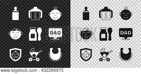 Set Baby Bottle, Little Boy Head, On Shield, Stroller, Bib, And Yogurt In With Spoon Icon. Vector