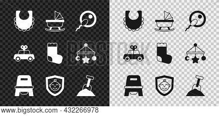 Set Baby Bib, Stroller, Sperm, Potty, On Shield, Sandbox With Sand And Shovel, Toy Car And Socks Ico