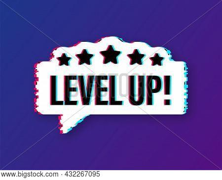 Game Icon Bonus. Level Up Icon, New Level Logo. Glitch Icon. Vector Illustration.