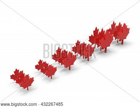 Canadian Maple Leaf On White Bacground 3d-rendering