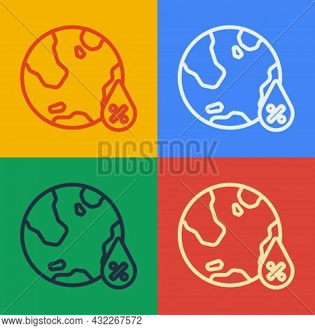 Pop Art Line Water Drop Percentage Icon Isolated On Color Background. Humidity Analysis. Vector