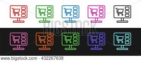 Set Line Shopping Cart On Screen Computer Icon Isolated On Black And White Background. Concept E-com