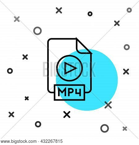 Black Line Mp4 File Document. Download Mp4 Button Icon Isolated On White Background. Mp4 File Symbol