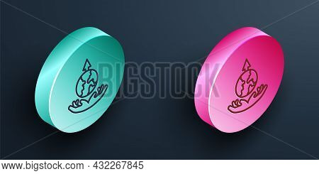 Isometric Line World Expansion Icon Isolated On Black Background. Turquoise And Pink Circle Button.