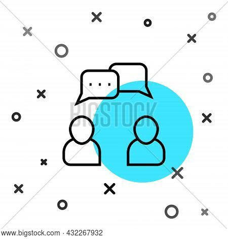 Black Line Speech Bubble Chat Icon Isolated On White Background. Message Icon. Communication Or Comm