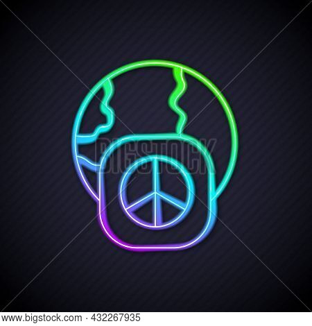 Glowing Neon Line International Day Of Peace Icon Isolated On Black Background. World Peace. Vector