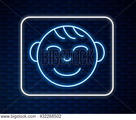 Glowing Neon Line Happy Little Boy Head Icon Isolated On Brick Wall Background. Face Of Baby Boy. Ve