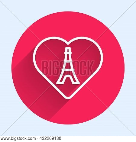 White Line Eiffel Tower With Heart Icon Isolated With Long Shadow Background. France Paris Landmark