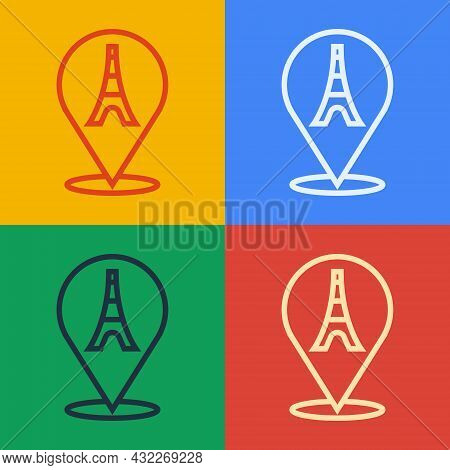 Pop Art Line Eiffel Tower Icon Isolated On Color Background. France Paris Landmark Symbol. Vector
