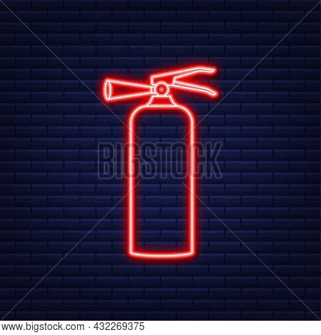 Fire Extinguisher Protection. Neon Icon. Vector Illustration.