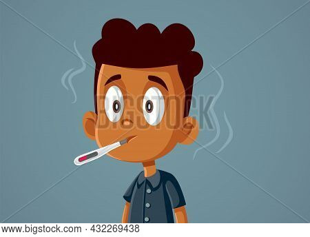 Boy Feeling Sick And Feverish Vector Cartoon