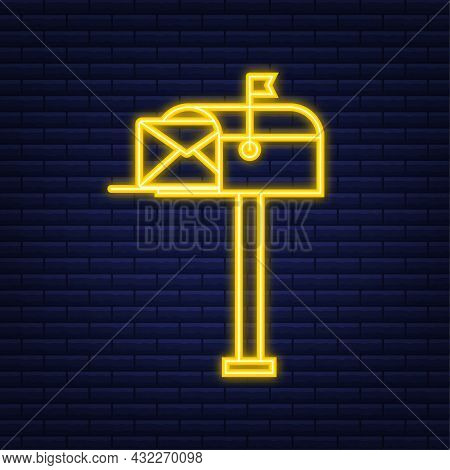 Mail Box. Envelope With A Newsletter Concept. Neon Style. Vector Illustration.