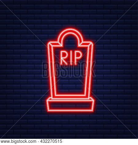 Grave Icon Flat Design. Old Gravestone With Cracks. Neon Style. Vector Illustration.